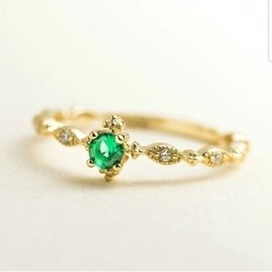 Jewelry - Dainty CZ Statement Stacking Gold & Green Ring